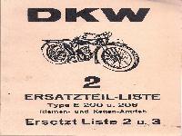 DKW 2 Ersatzteilliste Type E 200 u. 206