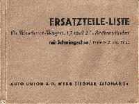 Ersatzteilliste für für Wanderer-Wagen 1,7 und 2 Liter Sechszylinder mit Schwingachse/Type W 21,22