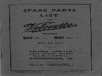 Velocette 1947 Ersatzteilliste