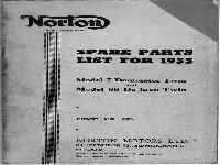 Norton spare list for 1955 Model 7 Dominator Twin and Model 88 De luxe Twin