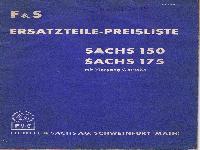 F&S Ersatzteile Preisliste Sachs 150, Sachs 175 mit Viergang-Getriebe