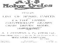 AJS Motor Cycles - 1915-1924 - List of Spare Parts
