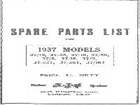 AJS Motor Cycles - 1937 - spare parts list