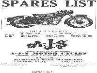 AJS Motor Cycles - 1947 - spare parts list