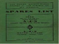 AJS Motor Cycles - 1952 - spare parts list