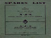 AJS Motor Cycles - 1954 - spare parts list