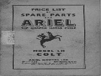 Ariel 1956-1957 colt spare parts list