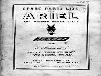 "Ariel 1961 ""Leader"" and ""Arrow"" spare parts list"