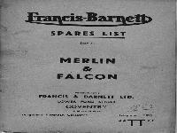 Francis Barnett 1953 Spares list for Merlin & Falcon