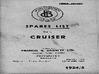 Francis Barnett 1954 spares list for Cruiser