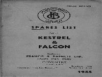 Francis Barnett 1955 spares list for Kestrel & Falcon