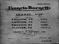 Francis & Barnett Spare list Falcon, Cruiser, Plover 1957