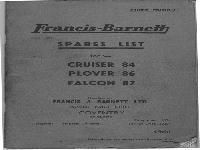 Francis & Barnett Spare list Falcon, Cruiser, Plover 1960