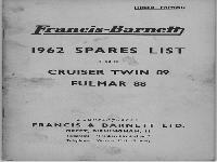 Francis & Barnett 1962 Spare list Cruiser Twin & Fulmar 88