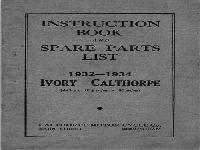 Ivory Calthorpe Instruction Book and Spare Parts List