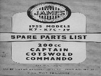 JAMES 1955 Spare Parts List Captain, Cotswold, Commando