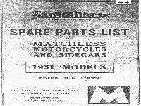 Matchless 1931 Models Spare Parts List