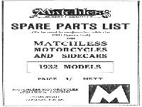 Matchless 1932 Models Spare Parts List