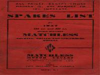 Matchless 1957 Spares List for Single Cylinder Models