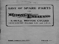 Royal Enfield 1931 Spare Parts 3.46 h.p.
