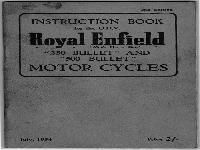 "Royal Enfield 1954 Instruction Book ""Bullet"""