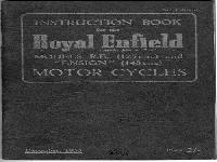 "Royal Enfield 1955 Instruction Book R.E. and ""Ensign"""