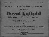 "Royal Enfield 1955-56 A List of Spare & Replacement Parts ""G de Luxe"" and ""Clipper"""