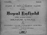 "Royal Enfield 1956 Spare & Replacement Parts ""Clipper"""