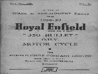 "Royal Enfield 1958 Spare & Replacement Parts ""350 Bullet"""