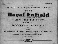 "Royal Enfield 1962 Spare & Replacement Parts ""350 Bullet"""