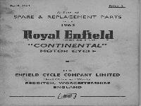 "Royal Enfield 1963  Spare & Replacement Parts ""Continental"""