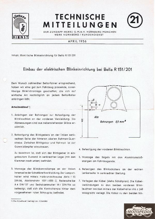 Zündapp Technische Mitteilungen April 1956 - 21 Einbau der ...