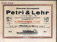 Petri & Lehr Prospekt No. 131 über Seitenwagen (für Motorräder)