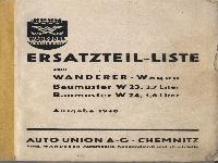 W 23, W 24 Ersatzteile-Liste Ausgabe 1940