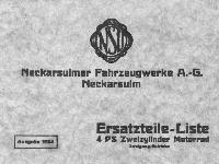 NSU Ersatzteil-Liste 4 PS Zweizylinder Motorrad