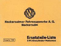 NSU Ersatzteil-Liste 2 PS Einzylinder Motorrad