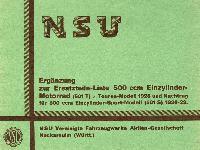 NSU - Ergänzung zur Ersatzteil-Liste 500 ccm Einzylinder-Motorräder