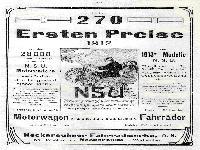 NSU - Über 270 der ersten Preise 1912