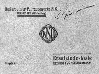 NSU Ersatzteil-Liste 3 und 4 PS