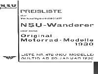 NSU Preisliste 1930