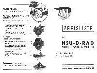 NSU Seitenwagen Preisliste 1938