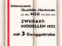 NSU Zweitakt-Modelle 1932
