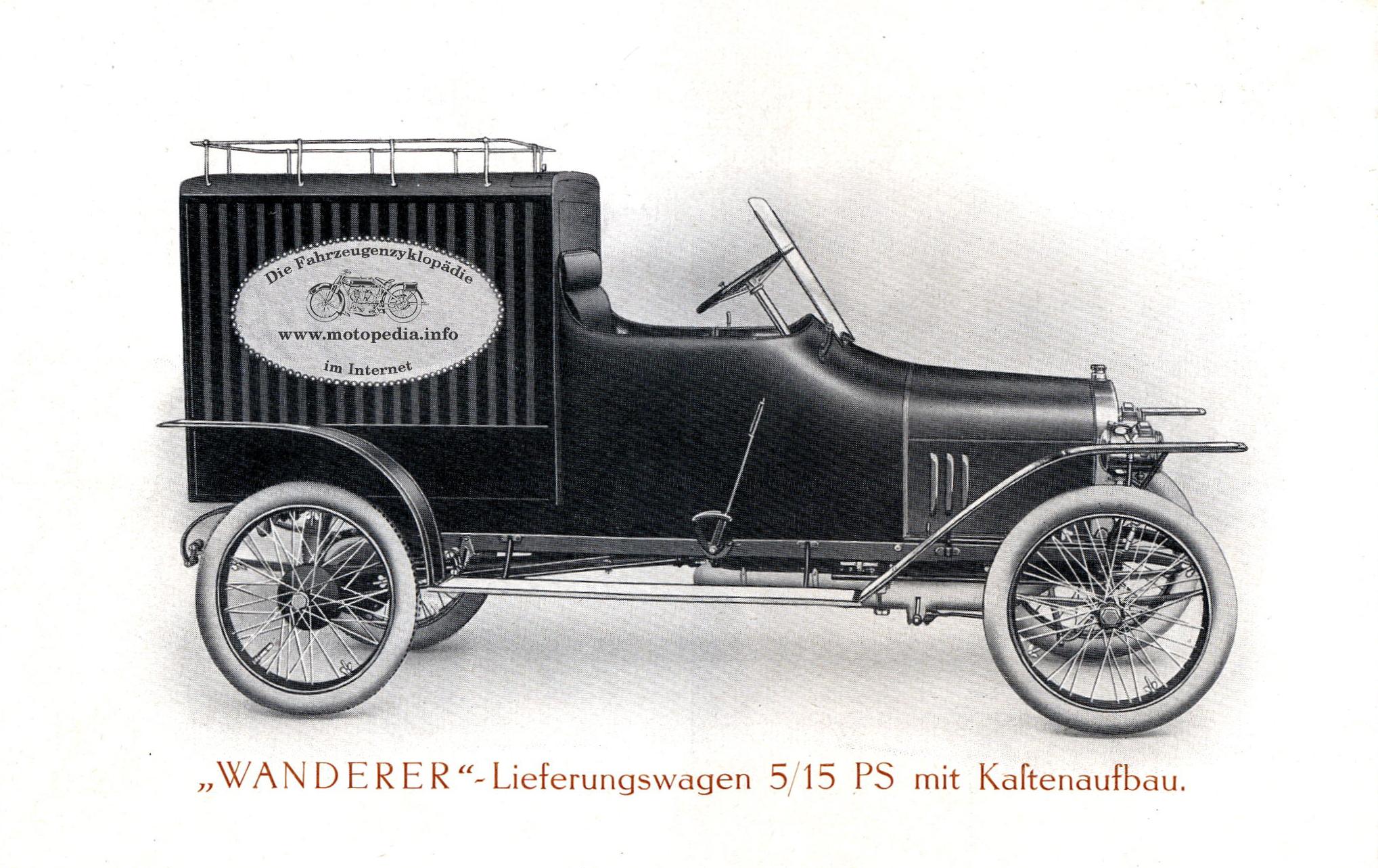 Wanderer Lieferwagen mit Motopedia Logo