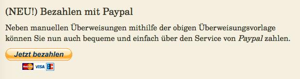 Erweiterung Zahlungsoption Paypal