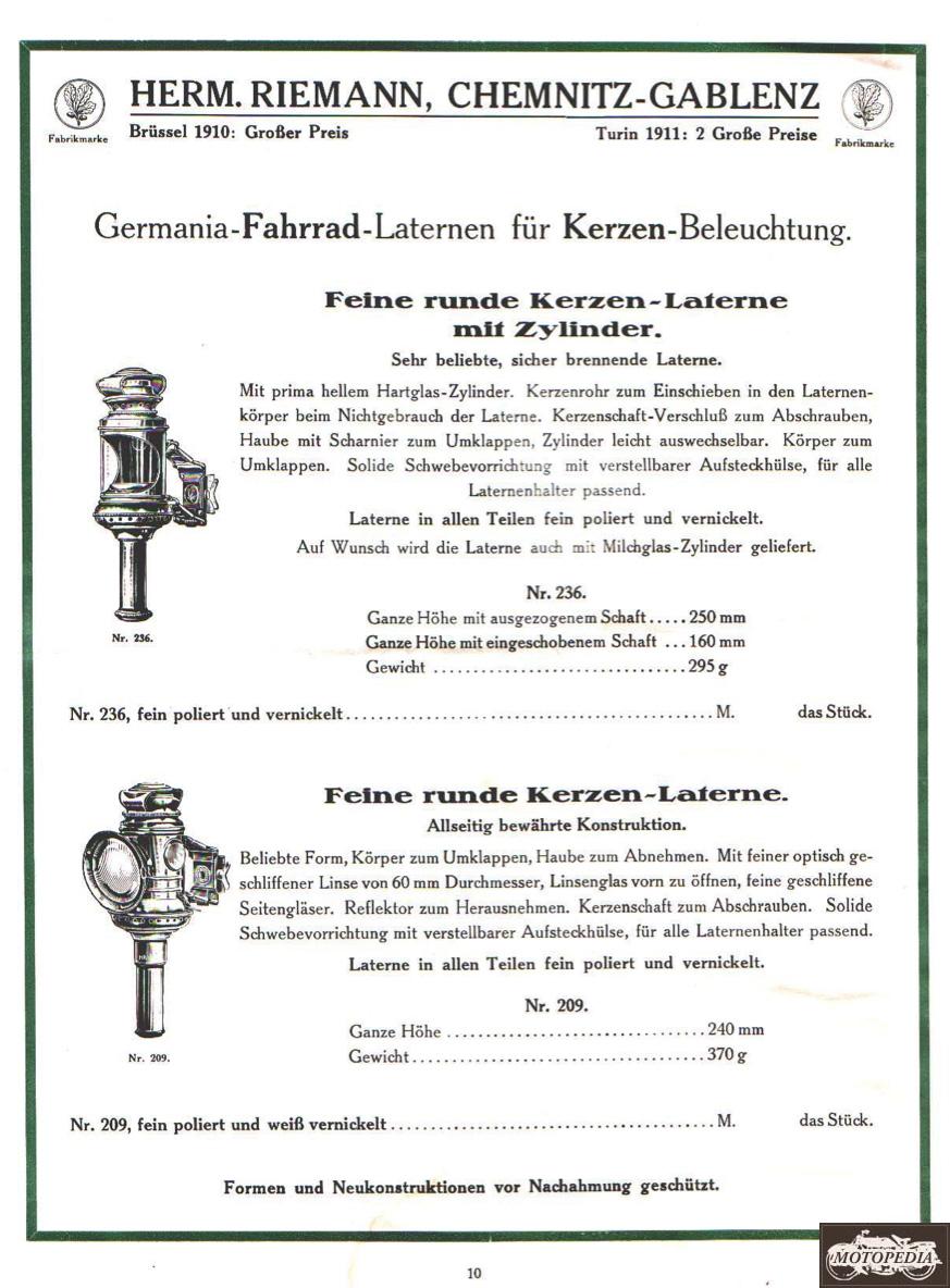Germania-Fahrrad-Laternen