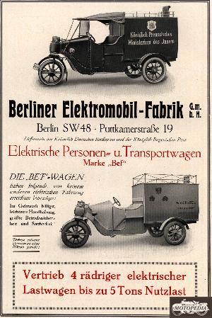 Werbung Berliner Elektromobil-Fabrik